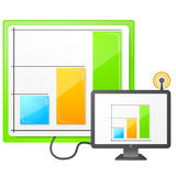 Live data icon. Illustration of a monitor with data displayed on screen. Antenna with signal Royalty Free Stock Image