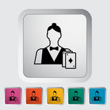 Live dealer. Single flat icon on the button. Vector illustration royalty free illustration