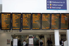 Live departures board, Birmingham New Street. Royalty Free Stock Photography