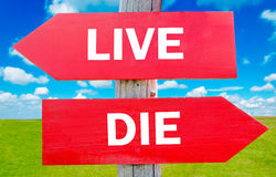 Live or die. Way choice showing strategy change or dilemmas royalty free stock image