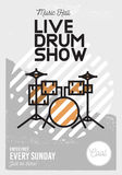 Live Drum Show Minimalistic Cool Line Art Event Music Poster.  Stock Image