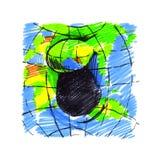 Live Earth-planeet Hand getrokken illustratie voor affiches, sociaal m Stock Foto