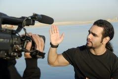 live expertis för acting anchorman Royaltyfria Bilder