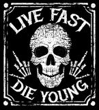 Live fast die young vector grunge design with human skull Royalty Free Stock Image