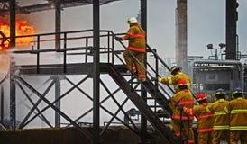 Live Fire Training Project på brandskolan Fotografering för Bildbyråer