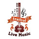 Live folk ethnic music festival vector emblem Royalty Free Stock Photos