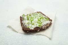 Live food from micro greens on whole grain bread. Raw food diet royalty free stock image