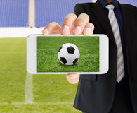 Live football from a phone Stock Images