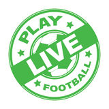 Live football stamp. Green rubber stamp with text live football written inside, soccer Stock Photography