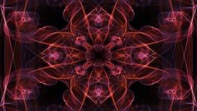 Live fractal patterns, video tunnel on black background. Meditation mandala in gold. Animated symmetric ornament for