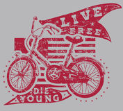 Live free. And cycle emblem Royalty Free Stock Images
