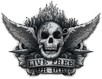 Live Free or Die. Grunge Biker Skull design with Flame & Wings Stock Photo