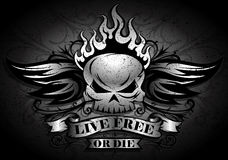 Live Free or Die. Tribal / Grunge Biker Skull design with Flame & Wings Royalty Free Stock Photo