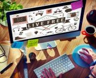 Live Free Freedom Alive Enjoy begrepp fotografering för bildbyråer