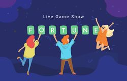 Live game show mobile app concept flat vector illustration of online quiz stock photo
