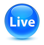 Live glassy cyan blue round button Stock Photos
