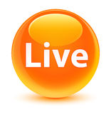 Live glassy orange round button Stock Photos