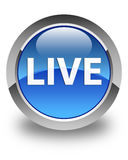 Live glossy blue round button Royalty Free Stock Photo
