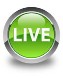 Live glossy green round button Royalty Free Stock Image