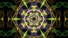 Live green fractal mandala, video tunnel on black background. Animated symmetric patterns for spiritual and meditation