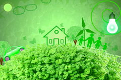 Live green Think green Love green go green concept abstract nature in green background Stock Images