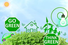 Live green Think green Love green go green concept abstract nature in sky background Stock Photography