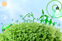 Live green Think green Love green go green concept abstract nature in sky background Royalty Free Stock Images
