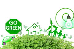 Live green Think green Love green go green concept abstract nature in white background Stock Images