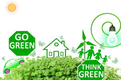 Live green Think green Love green go green concept abstract nature in white background Stock Image