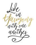 Live in Harmony with One Another. Bible Verse Typographic Art Design royalty free illustration