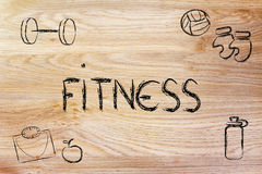 Live a healthy and fit life. Fitness equipment: live healthy and fit Stock Image