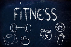 Live a healthy and fit life. Fitness equipment: live healthy and fit Stock Photo