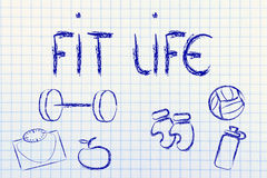 Live a healthy and fit life. Fitness equipment: live healthy and fit Royalty Free Stock Photography