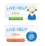 Live help. Customer live help signs: Click to chat if the support is available, leave a message if the support is offline Stock Image