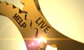 Live Help en los engranajes metálicos de oro 3d rinden Imágenes de archivo libres de regalías