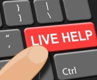 Live Help Key Shows Immediate-Hulp 3d Illustratie Royalty-vrije Stock Afbeeldingen