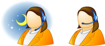 Live help support. Live support icon online - offline (woman version #1 Stock Photo