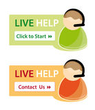 Live help support icons. Live help customer support icons against white background Royalty Free Stock Image
