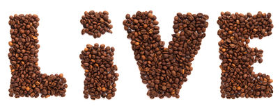 Live inscription from roasted coffee beans Royalty Free Stock Photos