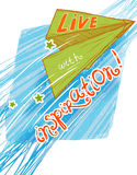 Live with inspiration!. Joyful green paper plane fly to the adventures Stock Photo
