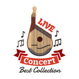 Live instrumental music concert emblem. Vector string musical instrument with musical notes and ribbon for fest icon Stock Photography