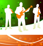 Live irish band on abstract celtic background Royalty Free Stock Photos