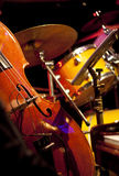 Live jazz-instrument set up on a stage Stock Photos
