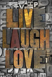 Live Laugh Love. The words LIVE LAUGH LOVE written in vintage letterpress type Stock Images