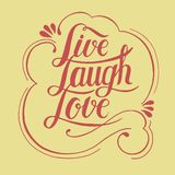 Live laugh love hand drawn motivational illustration Royalty Free Stock Images