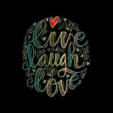 Live laugh love. Hand drawn typography poster `live laugh love royalty free illustration