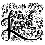 Live Laugh Love Hand Lettered kalligrafi Fotografering för Bildbyråer