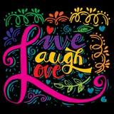 Live Laugh Love Hand Lettered kalligrafi Arkivbild