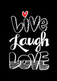 Live Laugh Love. Hand Lettered Words royalty free illustration