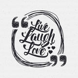 Live laugh love Hand lettering quote Royalty Free Stock Image
